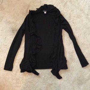 Black ruffled cardigan